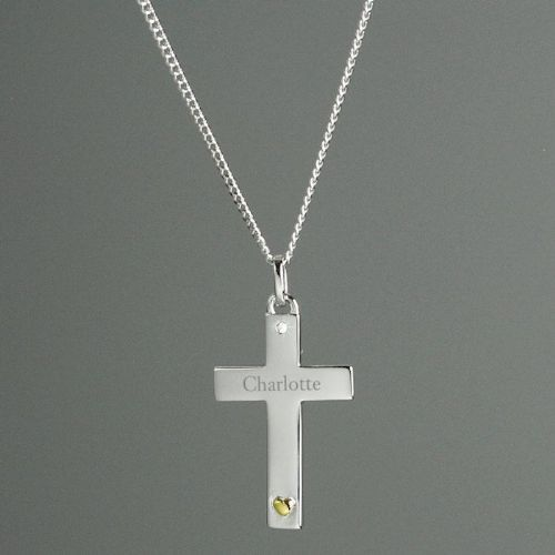 Sterling Silver Cross with 9ct Gold Heart & CZ Necklace